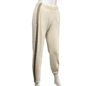 Philosophy NEW Cream Gold Striped Joggers Size S